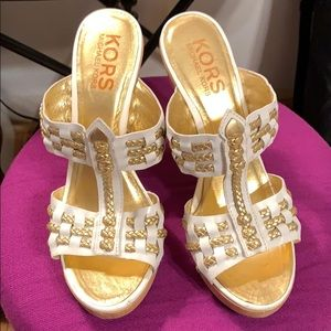 Michael Kors High Heeled Sandals White and Gold